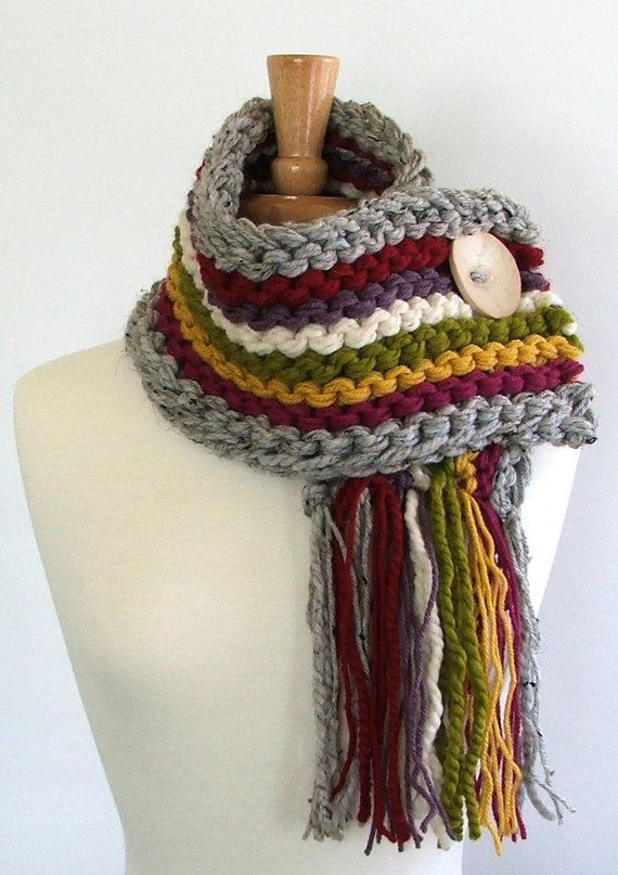 Chunky Knit Fringed Cowl Scarf in Silver / Red/ Purple / Cream / Lemongrass / Yellow / Magenta with Large Cream Button