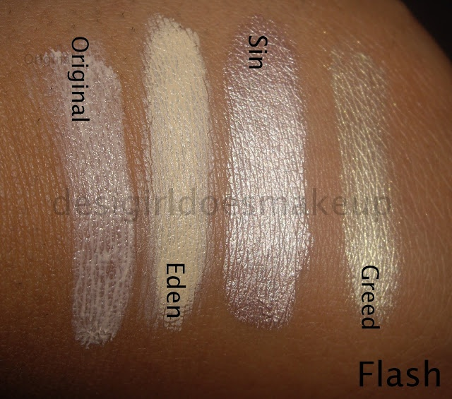 The Swatch Files/A Review: Urban Decay Primer Potion squeezy tubes in Sin, Greed, Eden and Original (so I can remember which one to order)