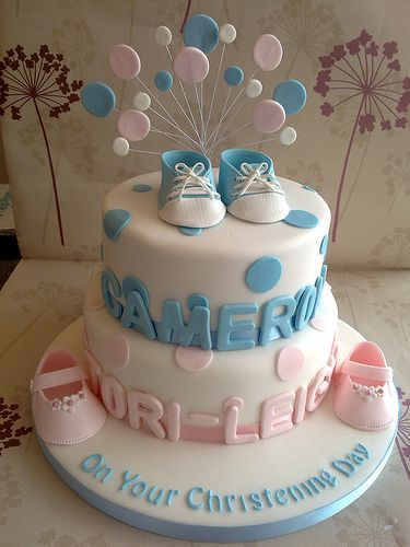 Cake for twins christening