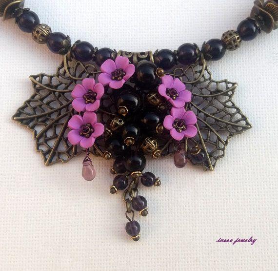 Purple Jewelry Flower Jewelry Pendant Earrings Set by insoujewelry