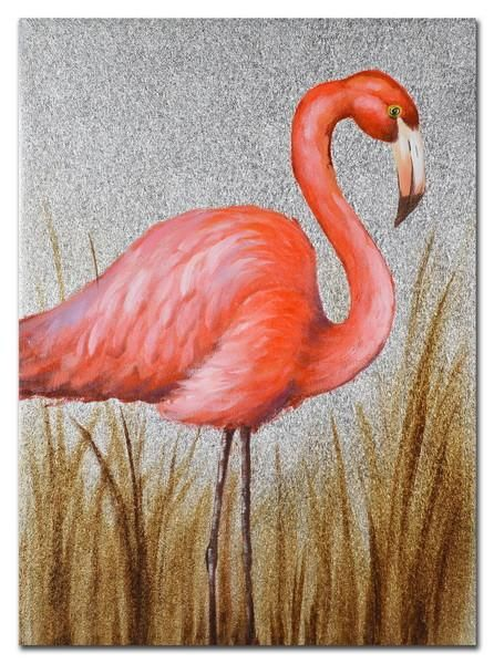 $37.90 Right Facing Flamingo Hand Painting Canvas 50*70*3cm