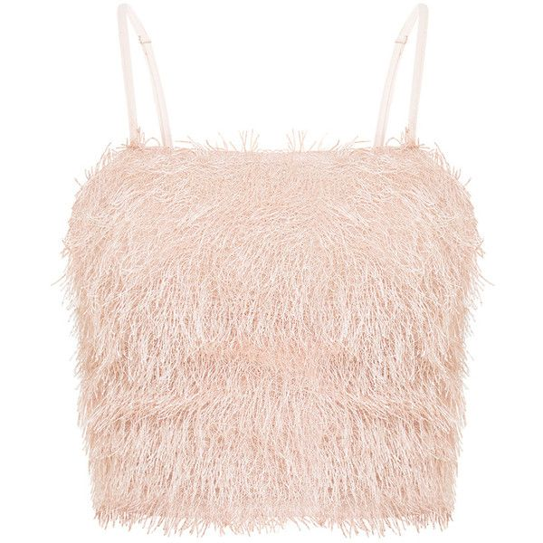Diala Pink Eyelash Fringe Crop Top ❤ liked on Polyvore featuring tops, crop tops, shirts, tanks, pink crop top, cut-out crop tops, shirt crop top, pink top and shirt top