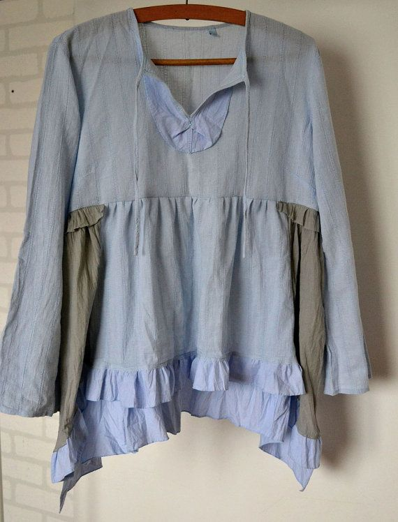 upcycled clothing, cotton tonic, light blue, recycled tunic, cottage chics, shabby