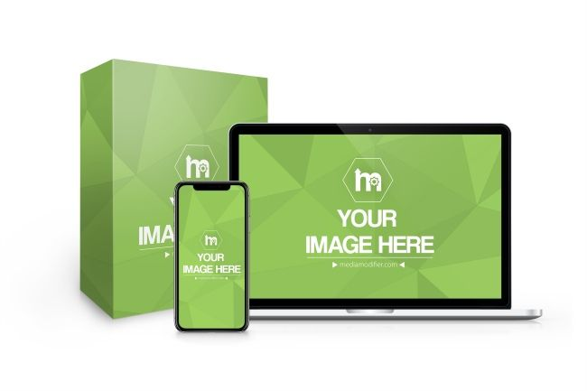 Use This Mockup Template With An Iphone Macbook And Standing Box To Showcase Your Digital Product Or Service Present Your Website Iphone Macbook Box Mockup