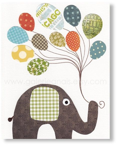 Nursery art prints, baby nursery decor, nursery wall art, nursery elephant, Balloon, I Believe I Can Fly 8x10 print. $14.00, via Etsy.