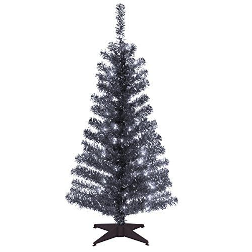 Santa's Little Helper Collection 4' Black Tinsel Tree with Plastic Stand & 70 Clear Lights