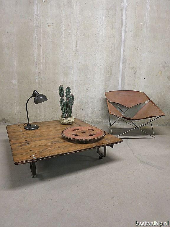 Vintage salontafel industrieel fabriekskar pallettafel www.bestwelhip.nl