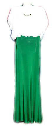 белая блузка и зеленая юбка в пол — женская одежда в ДЛЯ МИЛЫХ ДАМ.jpg