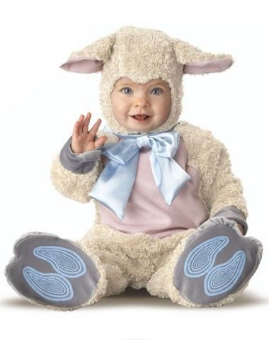 Lil' Lamb Infant Costume at spirithalloween.com - Dress up your baa-baa-bashful baby in this adorable Lil' Lamb costume! This classic baby costume features a soft, slip-on white fleece bodysuit with big blue bow and attached headpiece, making your little one the fuzziest in all the flock. Get yours in time for Easter for only $49.99!