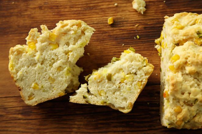 This quick bread recipe is flavored with yeasty beer, spicy pickled jalapeño peppers, and sweet corn kernels.( no jalapeño's)