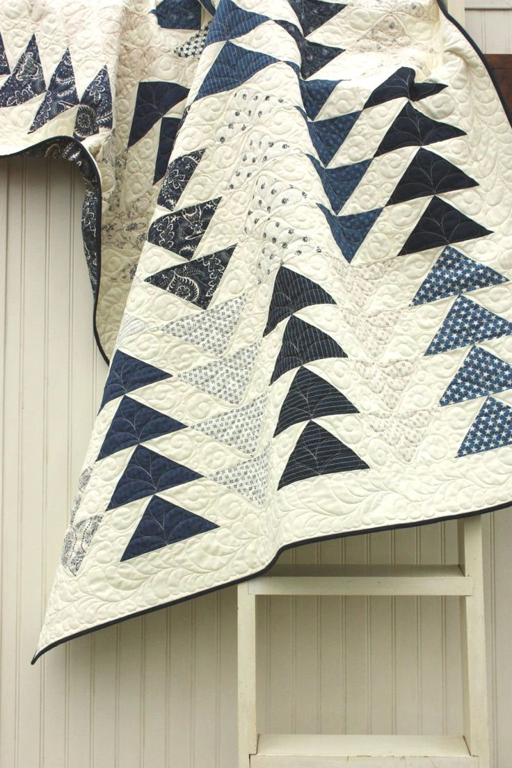 Flying Geese Quilt in the Indigo Crossing collection. // Loving the indigo / natural color combo I'm starting to see! Organic looking with modern touch.