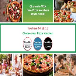 How To Win A $2,000 Pizza Voucher - Mmm…Yummy! Yummy! Yummy! This sweepstakes offer is absolutely crazy. Visit this page and sign up in order to enter for a pizza voucher worth $2,000 for Dominos, Crust Pizza, or Pizza Hut! Can you imagine how many pizzas you can buy with a $2,000 pizza voucher? Only 1 word can describe the number: ENORMOUS! Go ahead and sign up here.