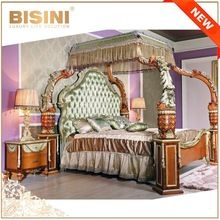 French Luxury Baroque Style Four Poster Canopy Bed/European Breathtaking Wood Carved Kind Size Bed/Palace Bedroom Furniture