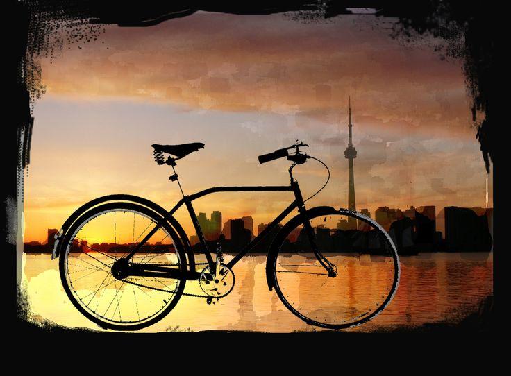 Toronto city skyline with bicycle