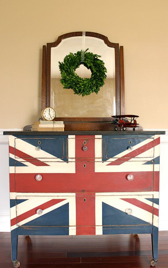Union Jack British Flag Dresser Chest of Drawers Traditional Colors Red, White & Blue with Mirror