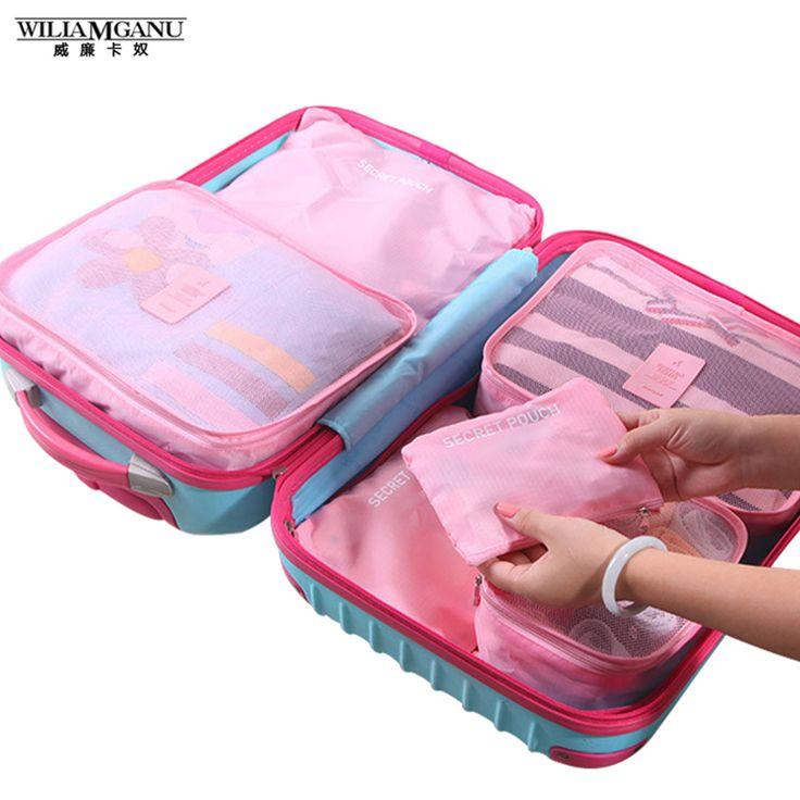 6 pcs/set Wanita Pria Travel Tas Menyortir Tahan Air Bagasi Kapasitas Tinggi Pakaian Tidy Pouch Portabel Organizer Kasus