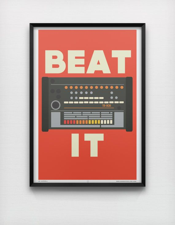Featured in the John Lewis House Collection.    Large Print featuring vintage Roland TR 808 Electronic Drum Kit.    Part of the Sons of Wolves