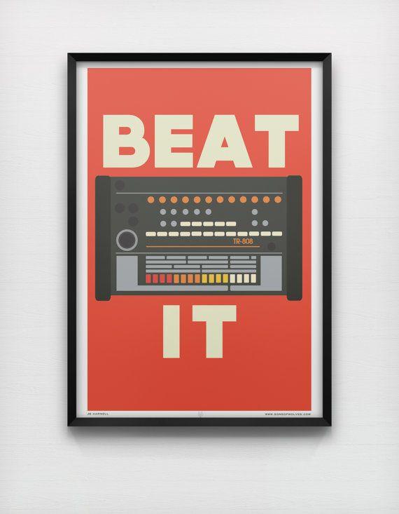 Beat It 50 x 70cm Large Giclée Print Roland TR 808 Drum Machine Electro Hip Hop Retro Music Print op Etsy, 54,34 €