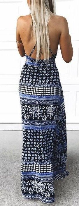 #summer #young #outfits | Black Print Backless Maxi Dress