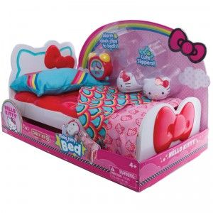 This Hello Kitty-themed bed playset, for ages 4+, is designed for Blip Toys' 13.5-inch Hello Kitty dolls, which are sold separately.