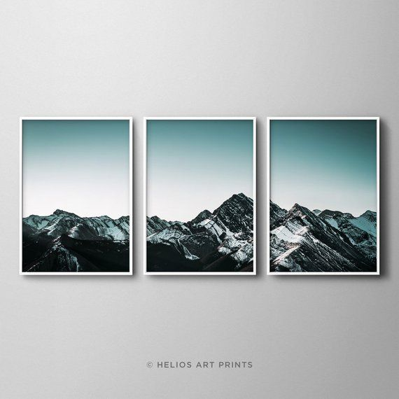 Set Of Three Mountain Range Wall Art Prints 3 Teal Etsy