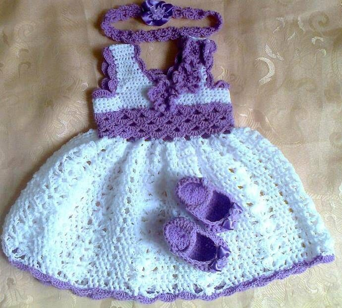 ⇛ Crochet Baby Dress Set ( Pattern Free)