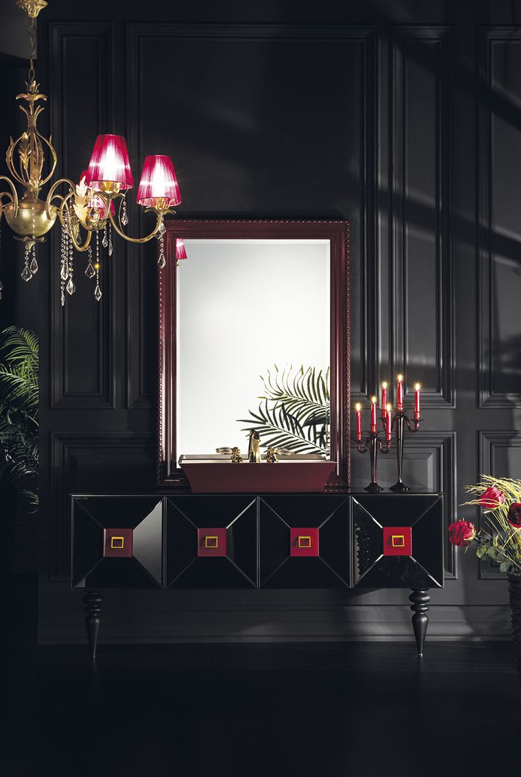 Topex Armadi Art Black And Burgundy Glass Fiaba Bath Vanity From Our Avantgarde Collection!