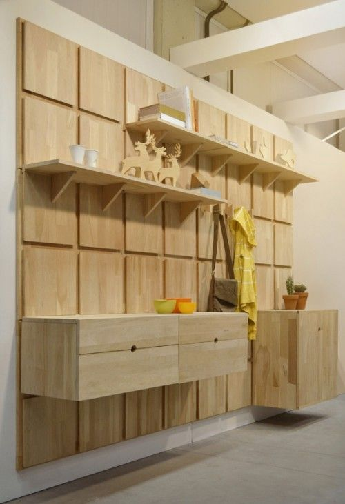 Lenga Modular System is a minimal design created by Jerusalém, Israel, designed by Yes, oui si. The design is inspired by a grid system in which various pieces can be placed and moved depending on the function it serves. For example, a retailer could place only shelves on the upper grids while maintaining cabinets on the lower grids. (6)