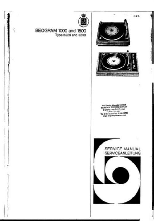 Bang & Olufsen Service Manual checked that be easy readable and (schematics) viewable : Beogram 1000 DOWNLOAD
