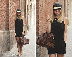 Parfois Cap, Zara Jumpsuit, Louis Vuitton Bag, Yves Saint Laurent Ring, Chanel Flats - Black Jumpsuit - My Showroom Priscila