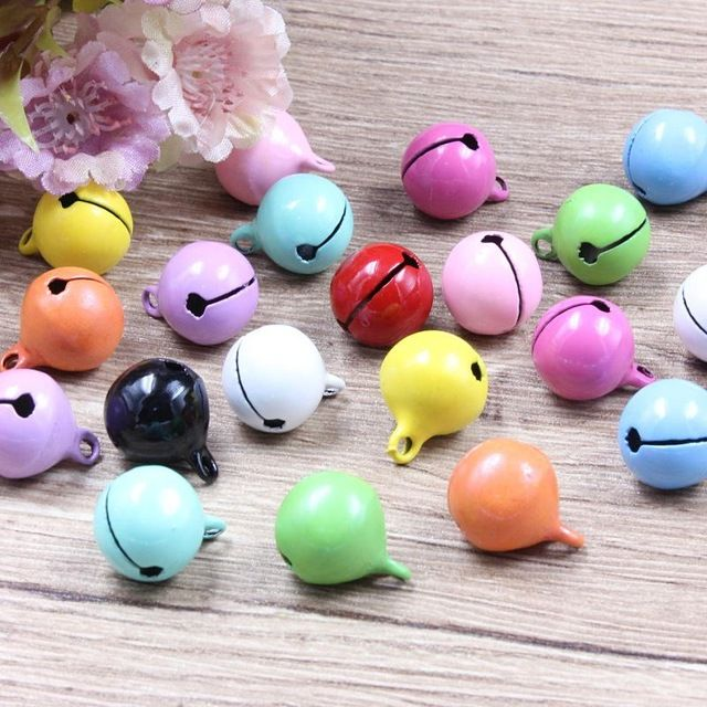 5Pcs Colorful Iron Loose metal Beads Jingle Bells Christmas Decoration Pendants DIY Crafts Handmade Accessories Size 13*13mm