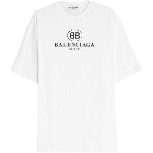1be0197c5f00 Balenciaga Logo Cotton T-Shirt ($470) ❤ liked on Polyvore featuring tops, t- shirts, white, white cotton tops, white cotton t shirts, balenciaga tee,  cotton ...
