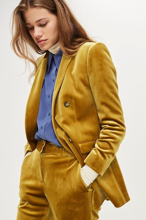 Bonded velvet double breasted blazer.