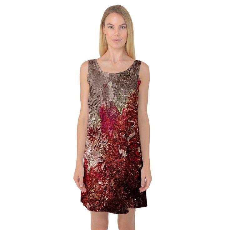 Floral+Print+Collage++Sleeveless+Satin+Nightdress