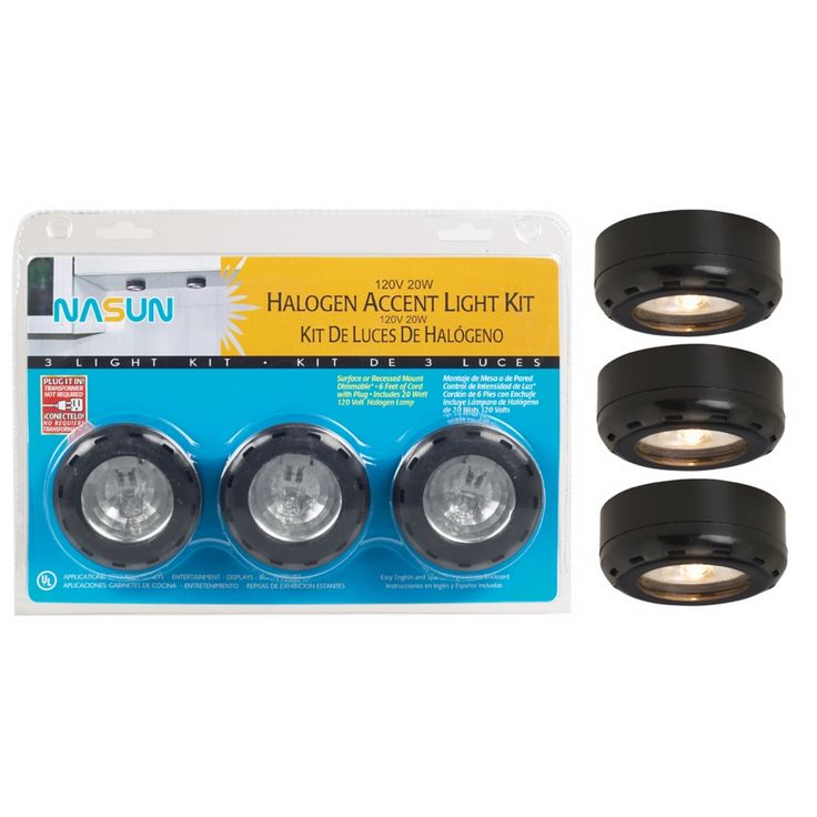 Black 20 Watt 3-Pack Halogen Puck Light Kit - Style # 86349