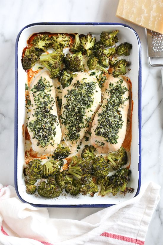 One Pan Parmesan-Crusted Chicken with Broccoli is so easy and tasty – and the best part, made all on one sheet pan which means easy clean up!