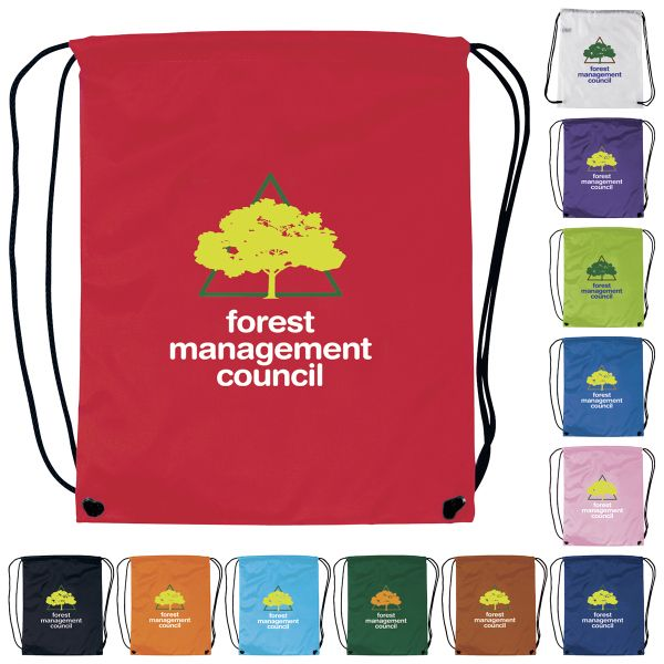 "Good Value (R). 190T Polyester. Drawstring Backpack. A fun simple backpack to stuff and go!  Our most popular bag is great for a company or golf event, theme parks, education, team sports and more!  Value backpack with drawstring cinch closure.  Large imprint area.  Double branding opportunities with front and back imprint areas.  Product Size: 13 1/2"" w x 16 1/2"" h."
