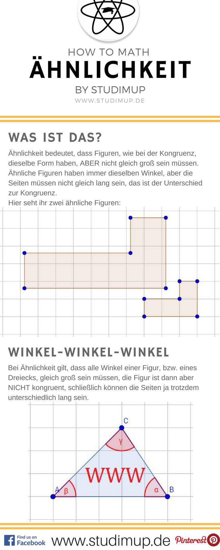 Ähnlichkeit in der Geometrie im Mathe Spickzettel erklärt.