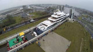The first aerial photos of 101.5 metre Symphony cruising in the Mediterranean show off the amenities of Feadship's largest yacht yet