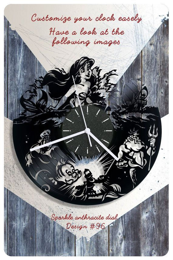 The Little Mermaid vinyl clock vinyl record clock by cheerlyshop