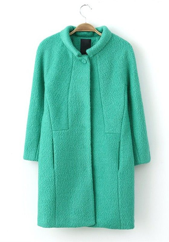 Green Plain Buttons V-neck Long Sleeve Wool Coat