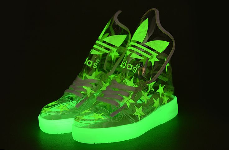 Glow in the dark Adidas sneakers.
