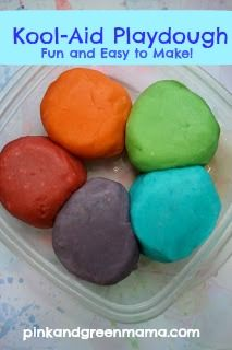 RECIPE:  * 1 Cup of Flour  * 1/4 Cup of Salt  * 1-2 Small Package(s) of Kool Aid (un-sweetened)  Color will be brighter with two packages!  1 Cup of Boiling Water  1 1/2 teaspoons. of Oil