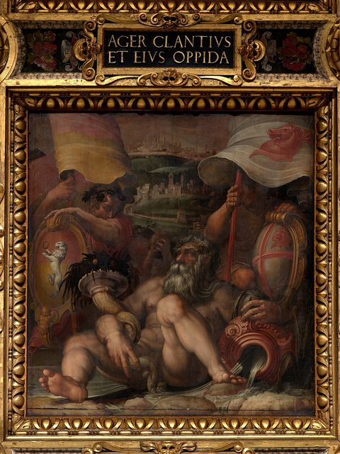"""Allegory of Colle val d'Elsa and San Gimignano"", Giorgio Vasari, Jan Van der Straet called Stradano, 1563-1565, oil painting on wood, Salone dei Cinquecento, Mannerism, Italian painting of th XVI century"