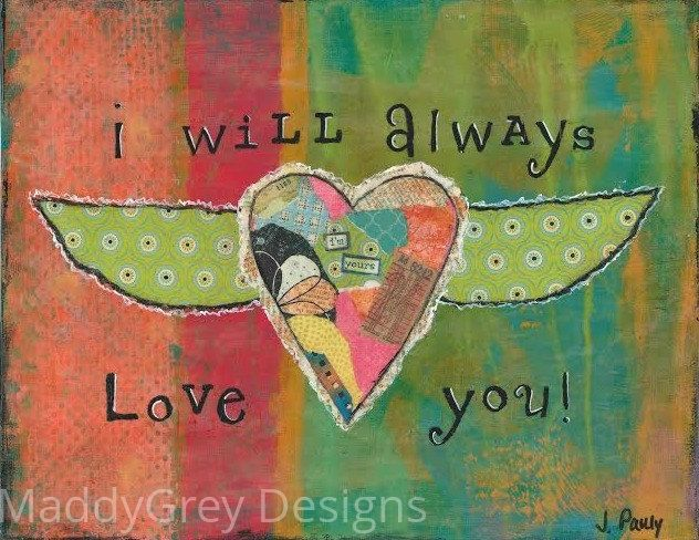 love, love art, forever and always, heart and wings, i'm yours, gypsy art, boho art, indie art, word art, winged love, gift for her, she art - pinned by pin4etsy.com