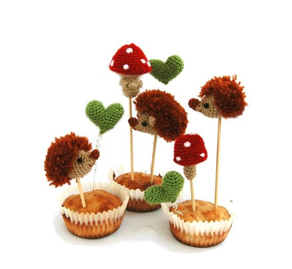 hedgehog family party topper crochet by tinyworldbycrochAndi, $78.68