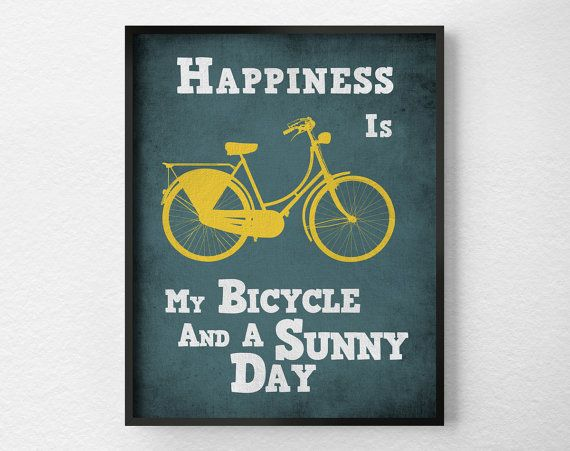 Bicycle Art Print, Bike Poster, Motivational Wall Art, Inspirational Print, Quote Print, Motivational Posters, Typographic Poster