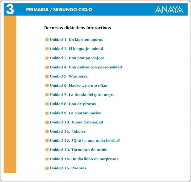 Recursos Didácticos Interactivos de la Editorial Anaya correspondientes a 3º Nivel de Educación Primaria, área de Lengua Española. Actividades complementarias en relación con los aprendizajes básicos  del área.