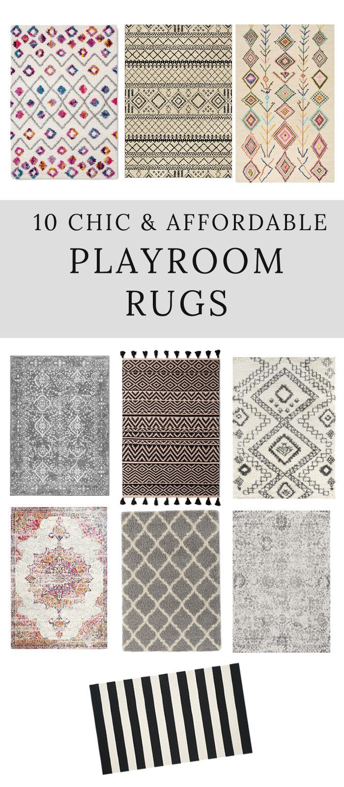 Looking for a chic and affordable playroom rug? Here is a great roundup of some of the best ones around!
