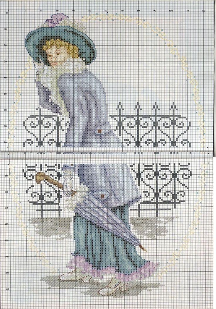 0 point de croix femme manteau et parapluie - cross stitch edwardian lady with umbrella 1